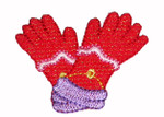 Iron On Patch Applique - Red Hat Ladies - Gloves.