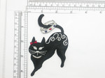 Black Cat Patch Ring Tail Iron On Patch Applique