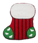 Christmas Stocking Stripey Iron On Patch Applique
