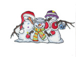 "Snow Man Patch Christmas Winter Clan Iron On  Applique 4"" (102mm) x 2 1/8"" (54mm)"