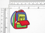 "School Back Pack Iron On Patch Applique   Embroidered on Red Backing    Measures 2 1/8"" high x 1 7/8"" wide approximately"