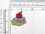 "School  Books & Apple Iron On Patch Applique    Embroidered on White Backing   Measures 1 3/8"" high x 1 3/8"" wide approximately"