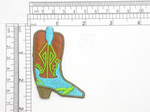 "Cowboy Boot Patch Iron On Embroidered Applique    Fully Embroidered with Rayon  Threads   Measures 2 5/8 high x 1 7/8"" wide approximately"