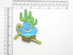 "Hat Lasso & Cactus Patch Iron On Embroidered Applique  Fully Embroidered with Rayon  Threads   Measures 3 1/2"" high x 3 1/4"" wide approximately"