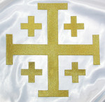 "Iron On Patch Applique - Jerusalem 5 Part Cross 10"" Metallic Gold"