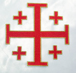 "Iron On Patch Applique - Jerusalem 5 Part Cross 5""  Red with Gold Border"