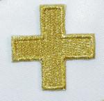 "Iron On Patch Applique - Jerusalem 1 1/8"" Corner Cross Metallic Gold"