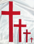 "Iron On Patch Applique - Plain Cross 16"" Tall Red"