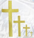 "Iron On Patch Applique - Plain Cross 5"" Tall Metallic Gold"