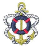 Iron On Patch Applique - Anchor with Life Preserver