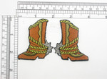 "Cowboy Boot Patch with Spur Left & Right Iron On Embroidered Applique   Fully Embroidered with Rayon & metallic  Threads   Each Piece Measures 2 3/8 high x 1 3/4"" wide approximately"