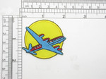 "Airliner Plane Patch Iron On Embroidered Applique  Embroidered on an Acetate backing  Measures 2 "" across x 1 7/8"" high"