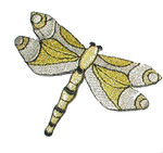 Iron On Patch Applique - Dragonfly Metallic Silver & Gold
