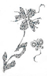 Rhinestone Applique - Flower Spray with Butterfly