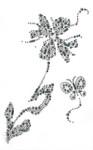 Rhinestone Applique - Flower Spray with Butterfly