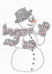 Rhinestud Applique - Snowman with Black Hat
