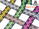 "Jacquard Ribbon 2"" (50mm) Fireball Skull Priced Per yard"