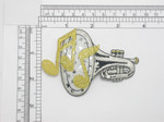 """Marching Horn Patch Silver Sparkle Iron On Embroidered Applique 2 5/8"""" high X 3 5/8"""""""