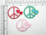 Peace Sign Heart Patch Embroidered Iron On Applique