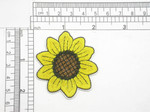 "Sunflower Embroidered iron on Applique 2 1/4"" Fully Embroidered Measures 2 1/4 "" across x  2"" high"