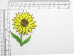 "Sunflower on Stem Embroidered Iron On Patch Applique Embroidered on a Yellow Sateen Backing Measures 2 3/8"" across x  3 1/2"" high"