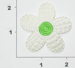 Iron On Patch Applique - Sateen Daisy White & Green 5 Petal 2 1/8""