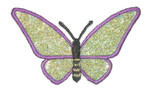 "Iron On Patch Applique - Butterfly 2 1/2"" Purple & Green Sparkle Wings"