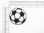 "Soccer Ball Patch Chenille Iron On Embroidered Applique   Measures 2 1/4"" across x 2 1/4"" High"