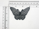 Butterfly Black & White Iron On Embroidered Applique 3""