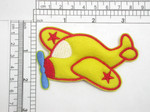 "Plane Puffy 3D Embroidered Iron On Applique  Embroidered on Felt Backing with Rayon Thread  Measures 2 1/8"" high x 3 1/2"" wide padded to 1/4"" depth approximately"