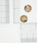 "Button 1/2"" 13mm Flat 4 Hole Tan & Brown"