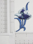 Iron On Patch Applique - Blue Flower Spray.