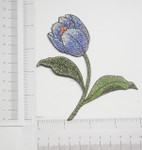 Iron On Patch Applique -  Tulip Flower Blue