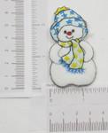 Iron On Patch Applique - Snowman Blue Star Hat