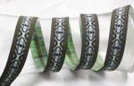 """Jacquard Ribbon 15/16"""" (24mm) Aztec Pattern Per Yard"""