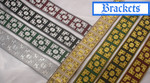 "Jacquard Ribbon 1 5/16"" (33mm) Metallic Brackets *Colors* Priced Per Yard"