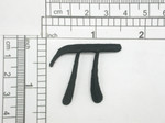 """Pi Symbol 3.14 Iron On Embroidered Applique  Fully Embroidered in Black Rayon Thread  Measures 1 1/2"""" across x 1 1/4"""" high approximately"""