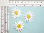 "3 x 12 Petal Daisy White 1 1/2"" Iron On Patch Applique  Fully Embroidered Measures 1 1/2"" across & 1 1/2"" high"