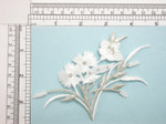 "White & Silver Flower Spray Iron On Patch Applique Fully Embroidered with Rayon and Metallic Threads Measures 5"" across & 3"" high approximately"
