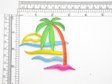"""Palm Tree & Ocean Multi Embroidered Iron On Patch Applique  Fully Embroidered  Measures 3 3/8"""" across x 3 1/4"""" high"""