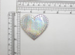 "Heart 2"" Patch Silver Holographic Iron On Embroidered  Applique"