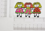 "3 Girls Embroidered  Iron On Patch Applique  Fully Embroidered in Rayon Threads Measures 2 7/8"" across x 1 1/2"" high approximately Selling Per Piece"