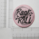 Iron On Patch Applique - Rock n Roll record Pink