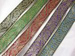 """Jacquard Ribbon 1 3/8"""" (33.6mm) Metallic Floral *Colors*"""