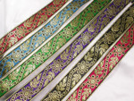 "Jacquard Ribbon 1 3/8"" (33.6mm) Metallic Floral  *Colors*"