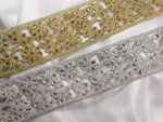 "Metallic Beaded Trim 2 3/4"" wide (65mm)  Silver or Gold"
