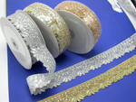 "Metallic Beaded Sari Saree Border 1 1/2"" wide (40mm)  *Colors*"