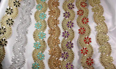 "Metallic Beaded Border 2"" Wide (50mm) *Colors*"