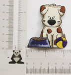 Iron On Patch Applique - Puppy Dog with Bowl