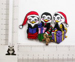 """Christmas Penguin Gifts Iron On Patch Applique 4"""" x 2 5/8""""(100mm x 67mm)  Fully Embroidered   Measures 4"""" w x 2 5/8 h (100mm x 67mm ) approx"""